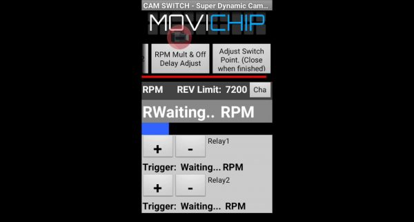MoviChip - Set the RPM trigger thresholds for relay 1 and relay 2