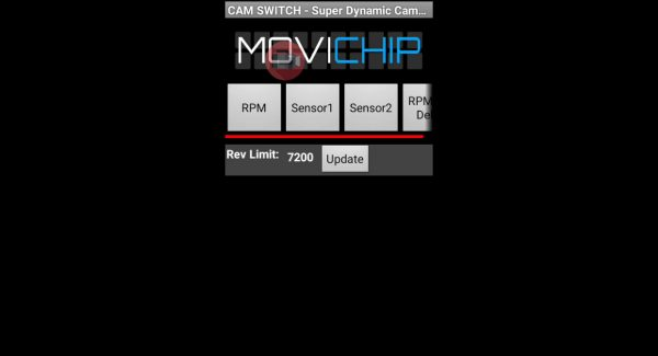 MoviChip Initial Screen - Set rev limit Set Revlimit